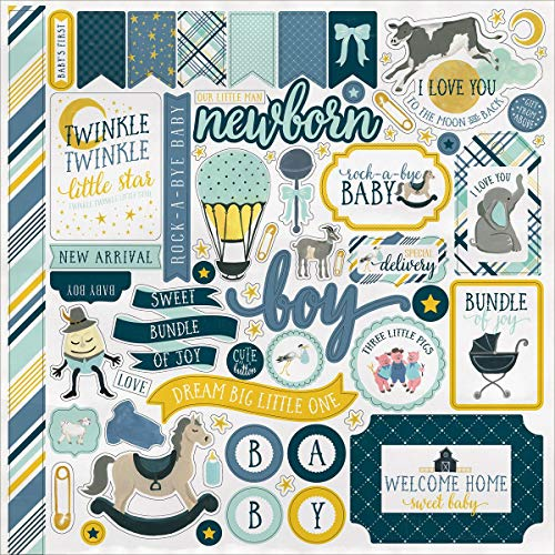 Carta Bella Rock-A-Bye Baby Boy Sticker Sheet