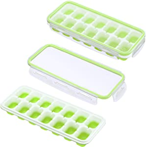 IKICH Ice Cube Trays with Locking Lids, UNIQUE Easy-Release Silicone Ice Trays 2 PCS Stackable Ice Cube Moulds with Spill-Resistant Removable Lids, FDA LFGB Certified & BPA Free for Whiskey Baby Food
