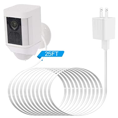 Power Adapter Compatible Ring Spotlight Cam Battery, with 25Ft/7.5m Weatherproof Outdoor Cable to Continuously Charge Your Home Security Camera, No Need to Change The Batteries(White)