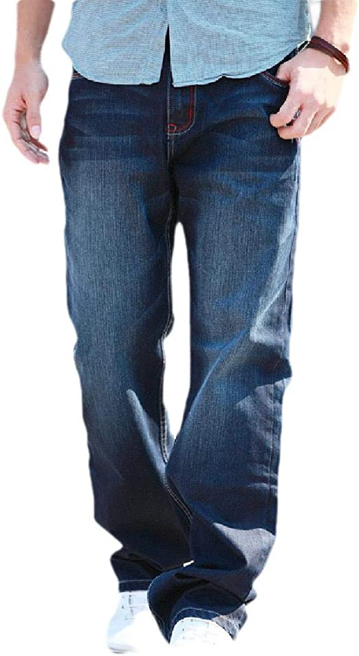 AngelSpace Men's Plus-size Washed Loose-Fit Retro Straight Mid Waist Jeans