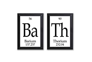 "Neurons Not Included Bath Periodic Table of Elements Plaque - 2 Piece Set - Each 5' X 7"" - Geeky Bath Decor"