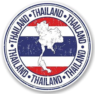 2 adhesivos de vinilo de Tailandia para el ordenador portátil, equipaje de viaje, coche, iPad, señal divertido número 5165