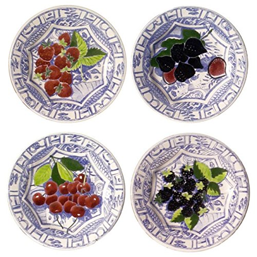 Gien Oiseau Blue Fruits Assorted Dessert Plate, Set of 4