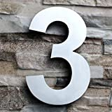 QT Modern House Number - LARGE 8 Inch - Brushed Stainless Steel (Number 3 Three), Floating Appearance, Easy to install and made of solid 304