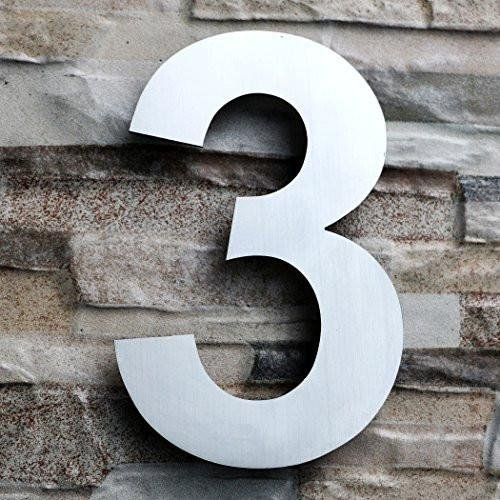 QT Modern House Number - LARGE 8 Inch - Brushed Stainless Steel (Number 3 Three), Floating Appearance, Easy to install and made of solid 304 by QT Home Decor