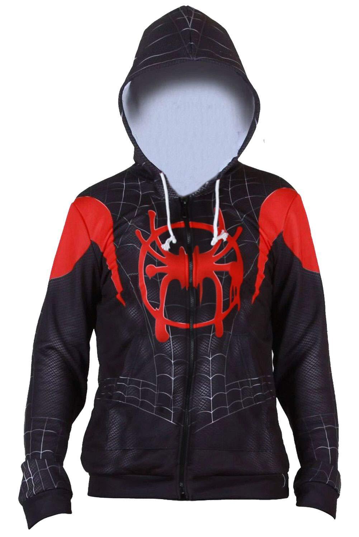 CHECKIN Toddler Kids Spider Verse Miles Morales Gwen Jumpsuit Bodysuit Black Spider Tights Zentai Costume (Small, Hoodie)
