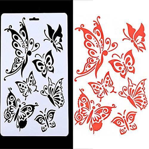 Amazon.com: Genenic Butterfly Painting Stencil Template, Hollow Embossing Stencil, Plastic Reusable Stencil DIY Scrapbook Paper Crafts Cards