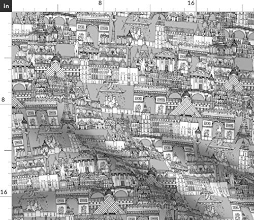 Spoonflower Black and White Fabric - Paris Monochrome Toile Architecture Illustration Print on Fabric by The Yard - Chiffon for Sewing Fashion Apparel Dresses Home Decor