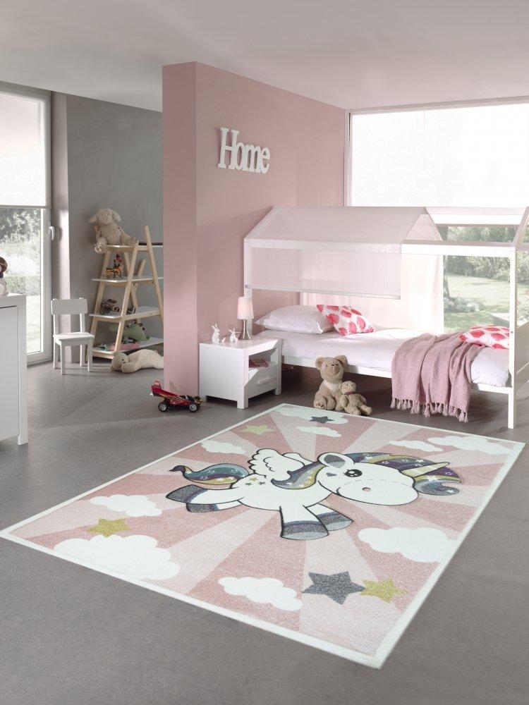 Kinderteppich Spielteppich Babyteppich mit Einhorn Regenbogen in Rosa Creme Größe 140x200 cm