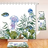Nalahome Bath Suit: Showercurtain Bathrug Bathtowel Handtowel Ocean Watercolor Style Effect Sea Life Pattern with Seaweed Jellyfish and Fish Reseda Green Jade Green