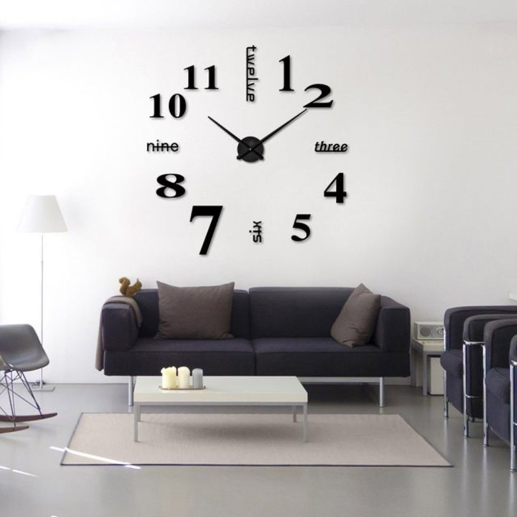 Amazon Homy Large Wall Clock Decorative 3d Diy Luxurious Silent