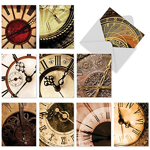 Assortment of 10 Blank Greeting Cards with White Envelopes 4 x 5.12 inch - 'Clockworks Boxed Note Cards for All Occasions - Clock, Time, Watch Stationery Notecard Set M2010