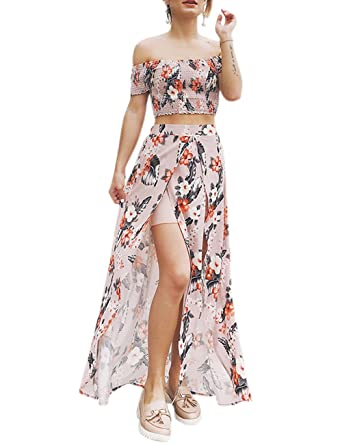 23085db3ec630 iBaste Women's Bohemian Style Off The Shoulder Two Piece Crop Top and Split  Dress Set Sexy