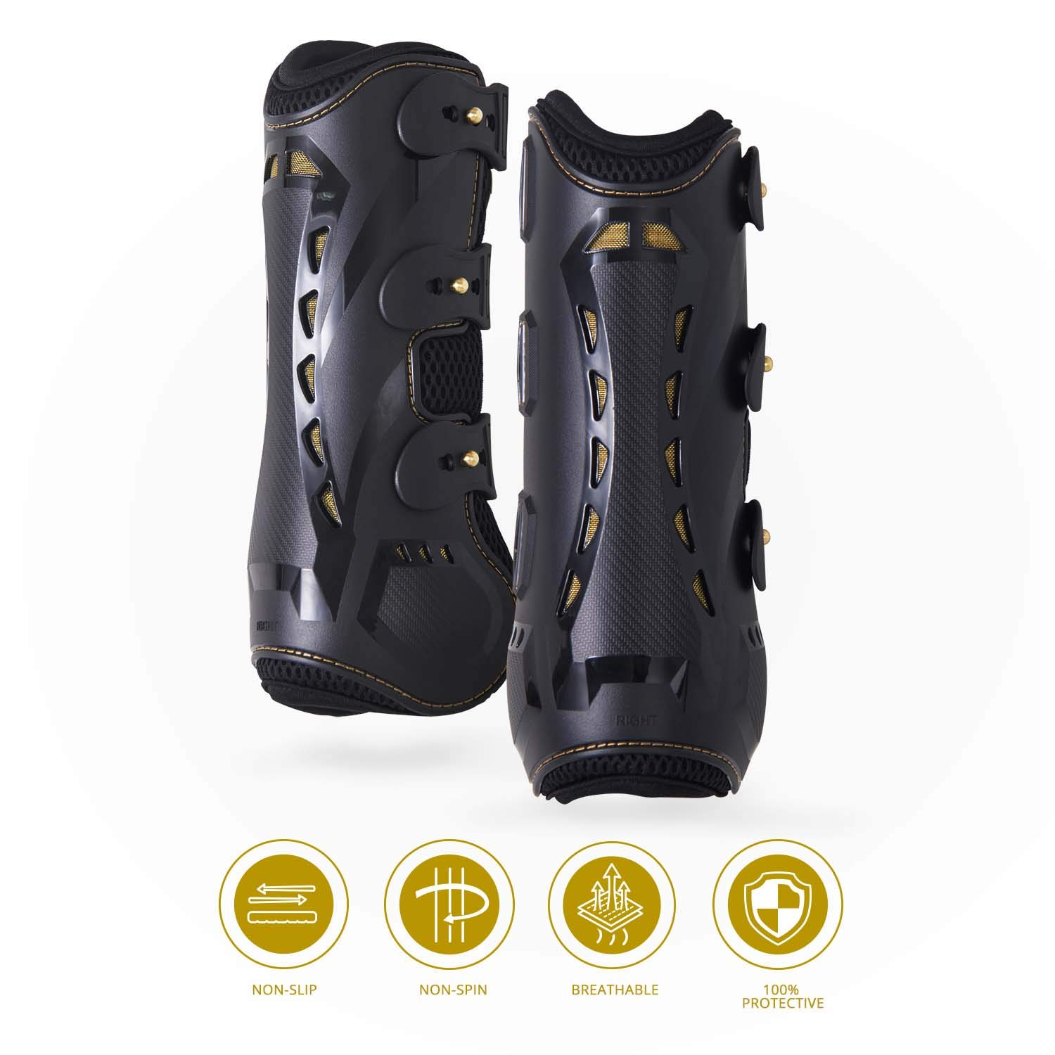 Kavallerie Classic Tendon Boots, Impact-Absorbing Material, Breathable & Evenly Distribute Pressure, Protect Tendon and Ligaments, Anti-Slip, Anti- Sore and Moisture Repellant Show Jumping Boots