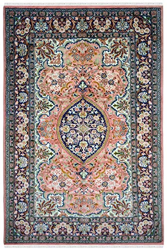 RugsandBeyond Handknotted Area Rug Carpet Luxurious Kashan Handloom Kashmir Pure Silk Persian Medallion Centre Pink Ground Design Royal Craftsmanship 100% Hand Washable (Pink, 3.1Ft by -