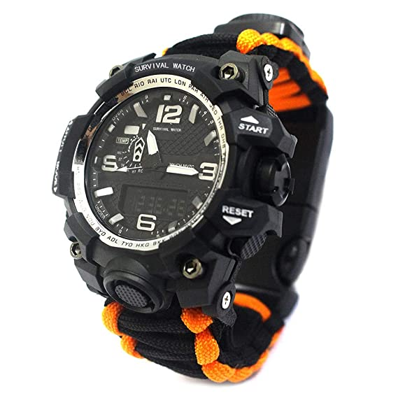 Outdoor Survival Watch-Vovomay Bracelet with Flint Fire Starter Compass Whistle (B)