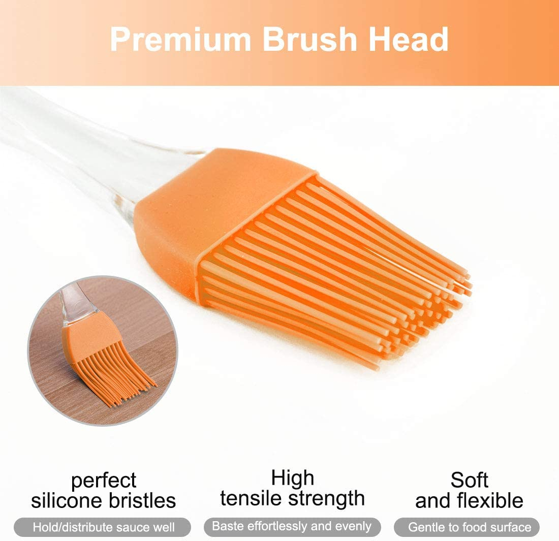 uxcell 2pcs Flexible Silicone Brush Heat Resistant Non-Stick Kitchen Cooking Essential Flatware for Kitchen Basting Barbecue Orange
