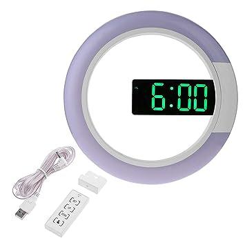 MagiDeal Espejo LED Digital Reloj de Pared Colgante Control Remoto de Alarma de Temperatura de Ventana - Verde: Amazon.es: Hogar