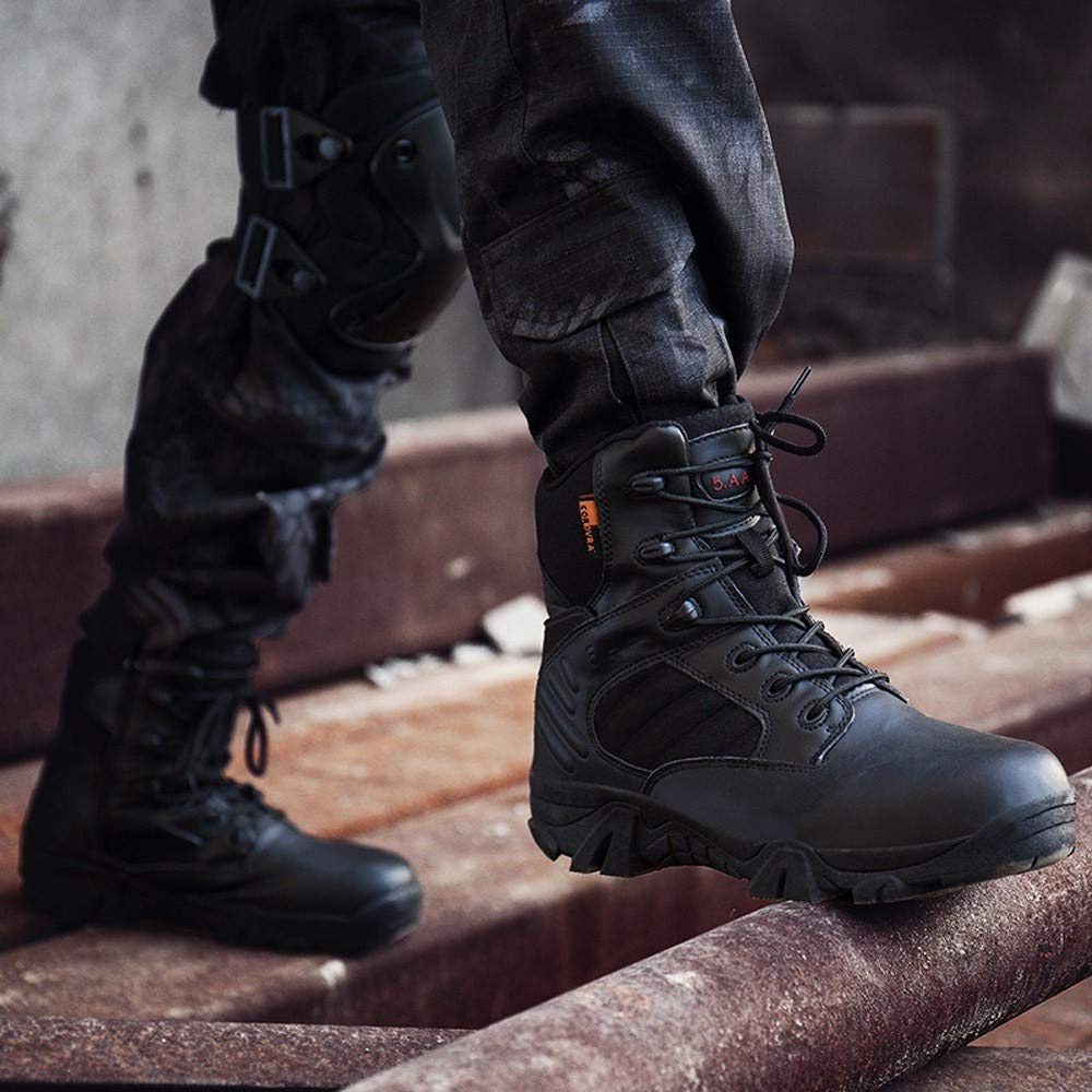Hunzed Men Shoes Outdoor lace-up Comfortable Hiking Boots Girls Boots For fall tall ankle boots riding boots with heel womens casual boots Flock Sole Material:rubber Shoes