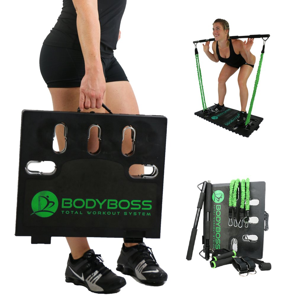 Body Boss Home Gym 2.0   Full Portable Gym Home Workout Package + 1 Set Of Resistance Bands   Collapsible Resistance Bar, Handles   Full Body Workouts For Home, Travel Or Outside by Body Boss