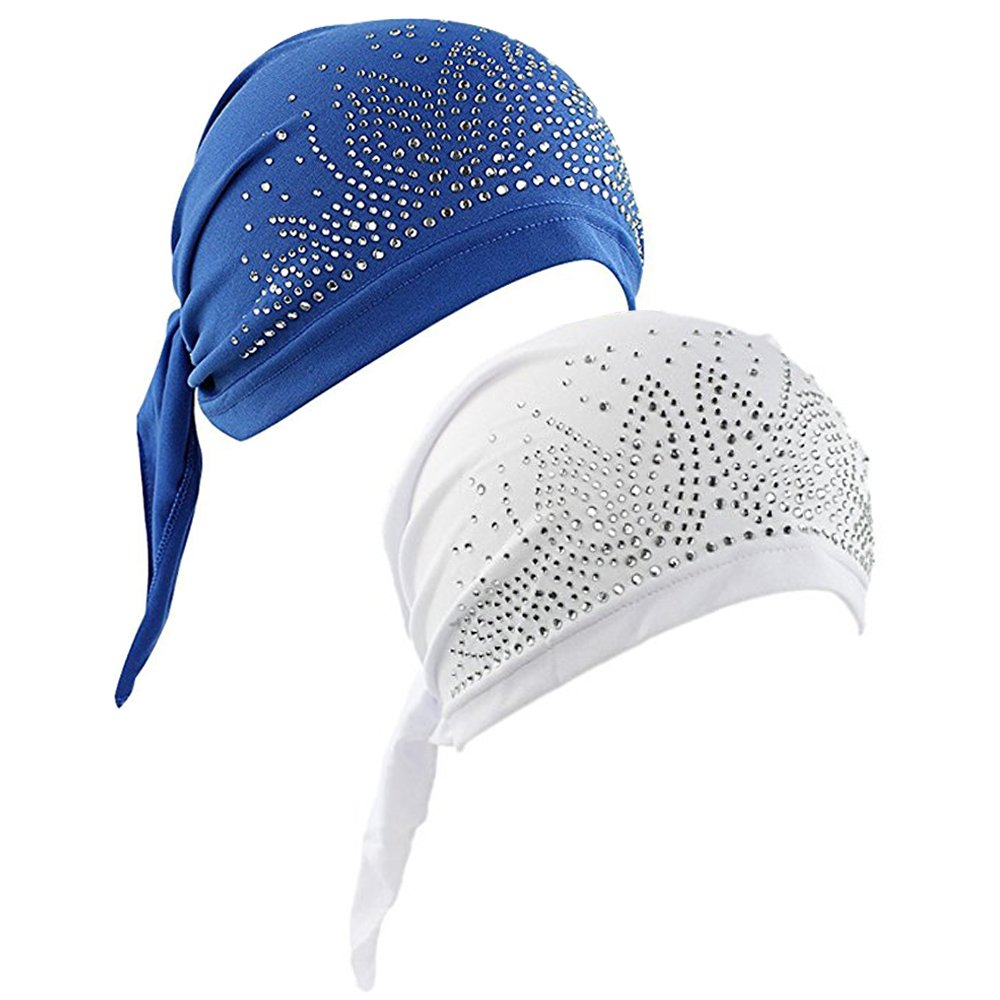 Women's Scarf Pre Tied Chemo Hat Beanie Turban Headwear for Cancer Patients 2 Pack (Blue/White)