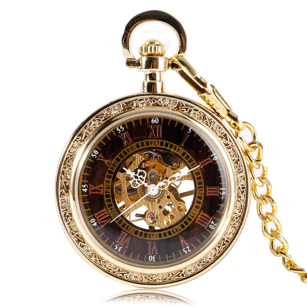 Luxury Gold Women Mens Pocket Watch, Antique Jewelry Mechanical Pocket Watch, Unique Gift for Men
