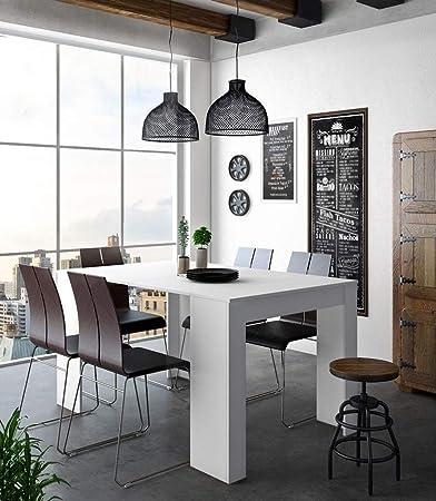 Home Innovation - Tavolo Consolle per sala da pranzo e soggiorno,  rettangolare, allungabile fino a 140 cm, colore bianco lucido, fino a 6  persone, ...