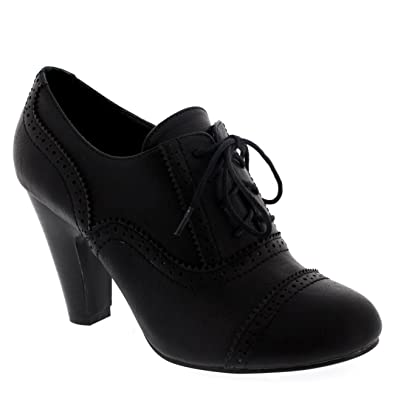 4fbab94a668 Womens Mary Jane Brogue Lace Up Ankle Boot Cuban Heels Work Office Shoes -  Black -