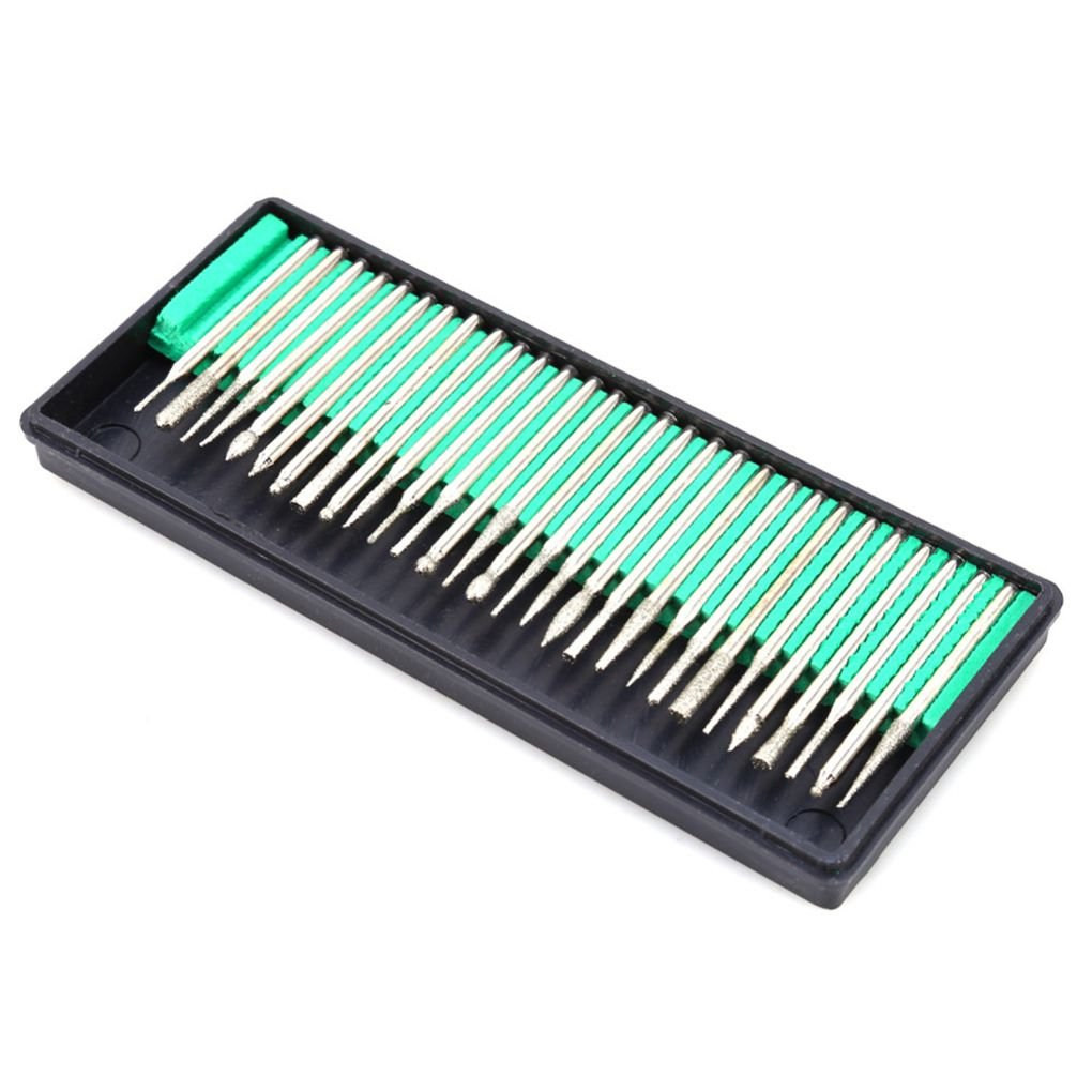 30PCS//Set 3mm Schaftdurchmesser Schleif Nadeln f/ür Polierschleifen Marmorfelsen-Schmucksachen Dremel-Bohrer