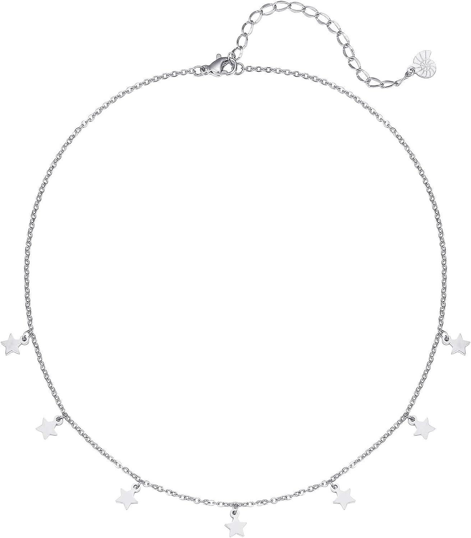Happiness Boutique Damas Collar de Estrella en Color Plata | Collar Delicado con Colgantes Estrellas Pequeñas Joyería de Acero Inoxidable