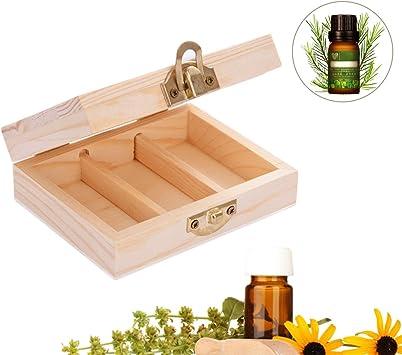 Starter Caja de aceite esencial - 3 ranuras-Caja de almacenamiento de madera de pino natural-Mejor para 5 ml, 10 ml y 15 ml-para mantener su aceite seguro: Amazon.es: Salud y cuidado personal