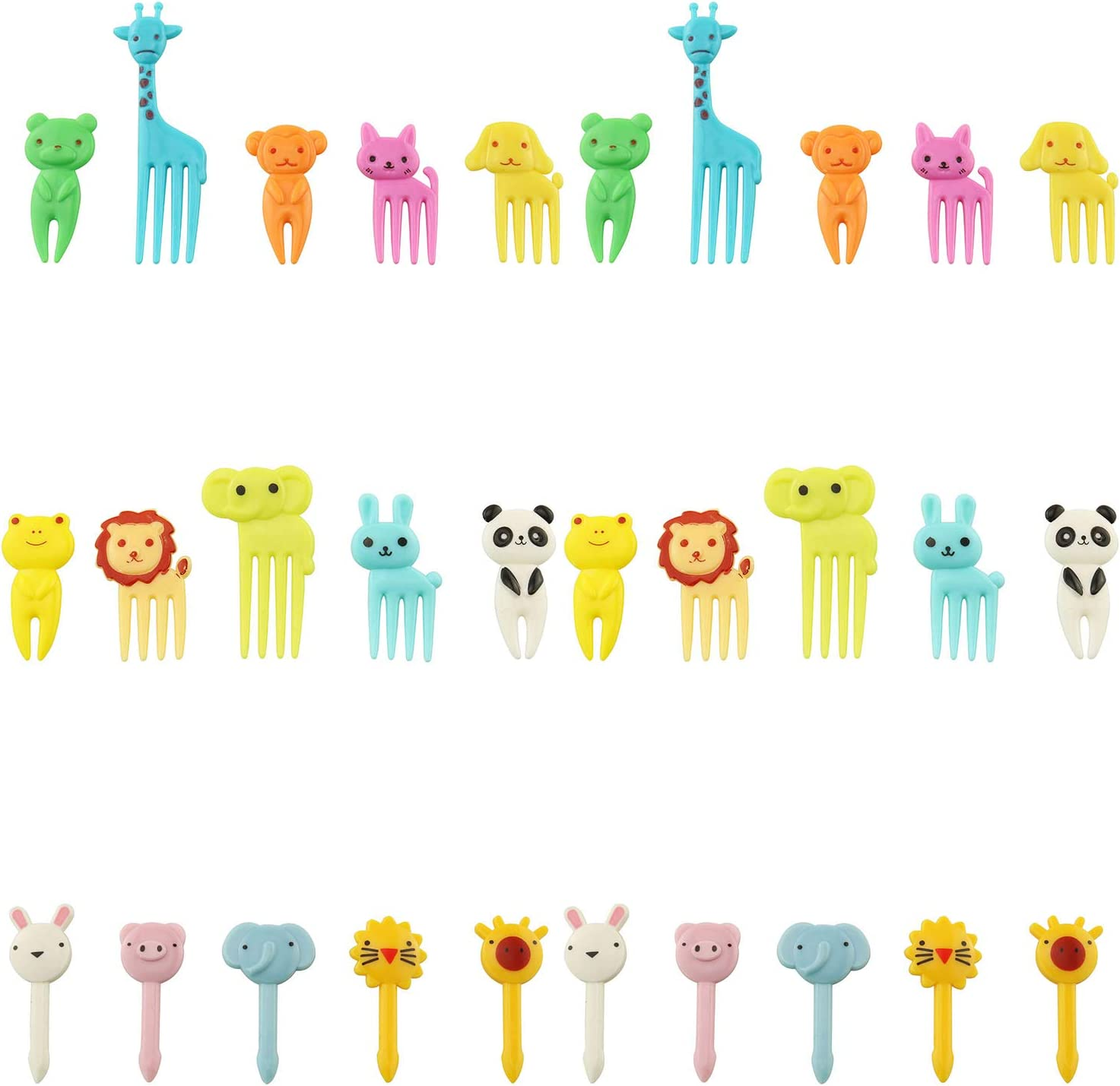 Tegg Food Pick 30PCS Cute Animal Bento Decoration Food Picks Forks Skewer For Lunch Box Mini Cartoon Toothpick