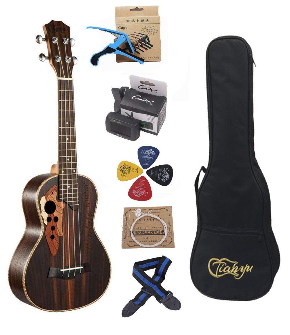 23-inch Hawaii ukulele rosewood professional concert Ukulele send tuner trim folder thick piano bag by Paisen
