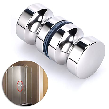 Sumnacon Stainless Steel Shower Glass Door Knobs, Modern Elegant Bathroom  Round Back To