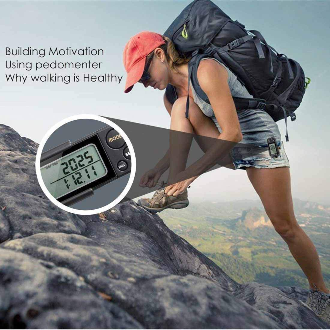 MAYMOC 3D Pedometer and Step Tracker for Walking Steps Miles//Km Accurate Portable Clip on Sports Fitness Daily Target Monitor Exercise Distance Calories Counter with Lanyard and 30 Days Memory Black