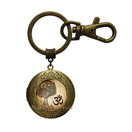 Amazon.com: Namaste Locket Keychain,Om Yoga Jewelry,Zen Tree ...