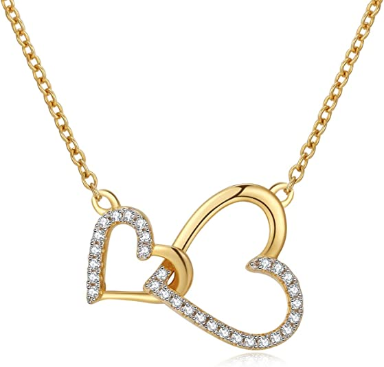 Klurent Double Love Heart Pendant Necklace for Women Mothers Day Valentines Anniversary White Gold Necklace