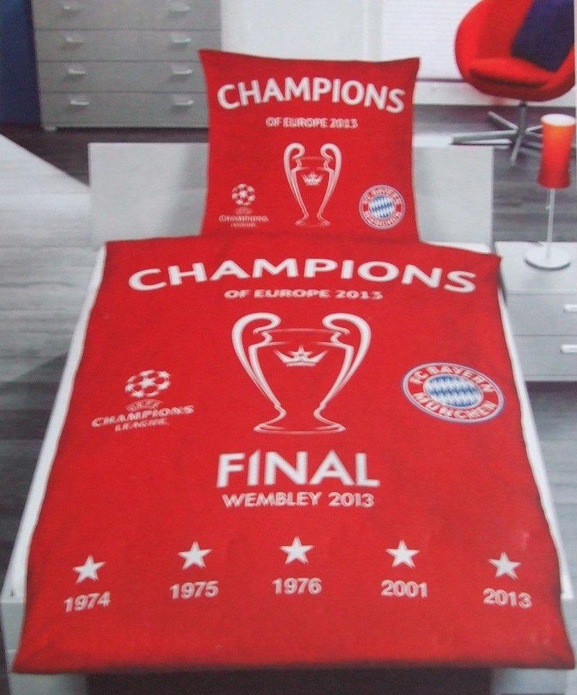 FC Bayern München Bettwäsche, 1 x Kissenbezug 80 x 80 cm und 1 x Bettbezug 135 x 200 cm, 100 % Baumwolle mit Knopfleiste