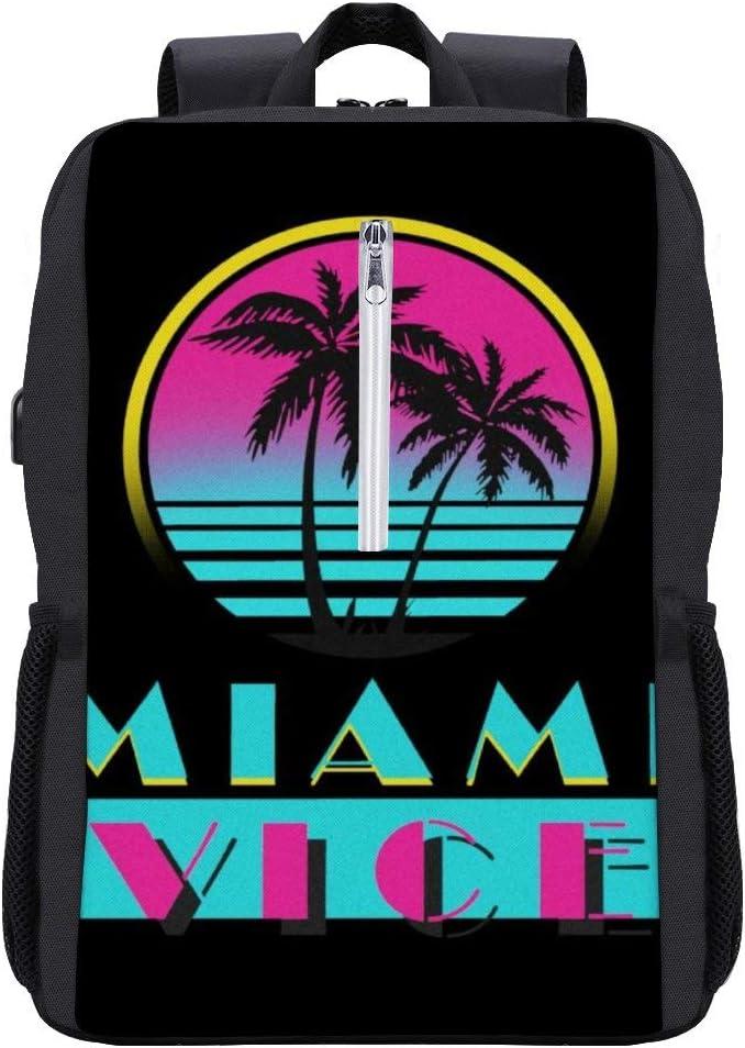 Miami Vice Logo Backpack Daypack Bookbag Laptop School Bag with USB Charging Port