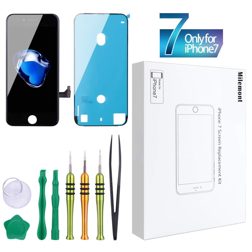 Screen Replacement Compatible iPhone 7 Black 4.7inch Digitizer Repair LCD Replacement Kit Screen Assembly Milemont 77-20644_A