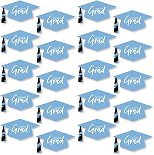 product image for Big Dot of Happiness Light Blue Grad - Best is Yet to Come - Grad Cap Decorations DIY Light Blue Graduation Party Large Essentials - Set of 20