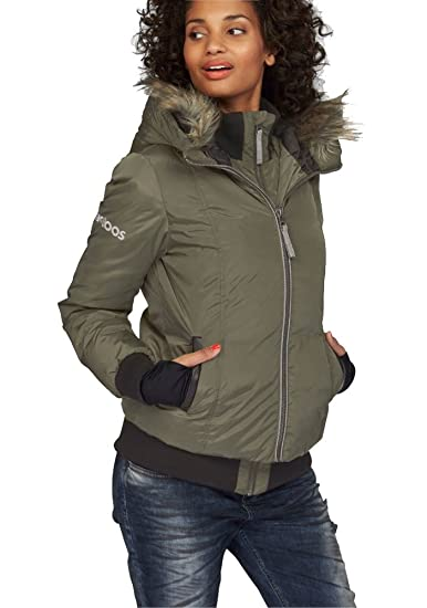 Kangaroos Damen Daunenjacke Daunen Jacke mit Kunstfell