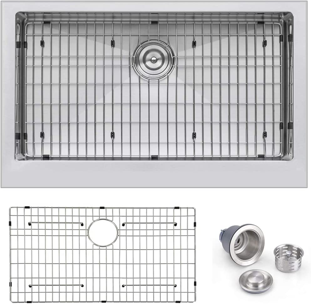 Primart PHA3321 33X21 Inch 10 Depth Single Bowl 16 Gauge Farmhouse Apron Front Kitchen Sink Stainless Steel w Sink Grid and Sink Strainer