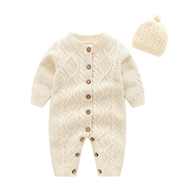 7cab5fd595db Amazon.com  Ding Dong Baby Boy Girl Knitted Sweater Romper Outfit ...