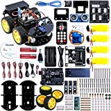 Elegoo UNO Project Upgraded Smart Robot Car Kit with Four-wheel Drives, UNO R3, Line Tracking Module, Ultrasonic Sensor, Bluetooth module, IR Remote, ect. Latest Intelligent and Educational Toy Car for Kids Boys