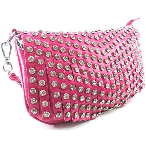 Messenger Body Hot Glossy Cross Shiny Fringe Rhinestone West Chain Pink Bling Justin Mini Handbag Purse XTOv8pxq