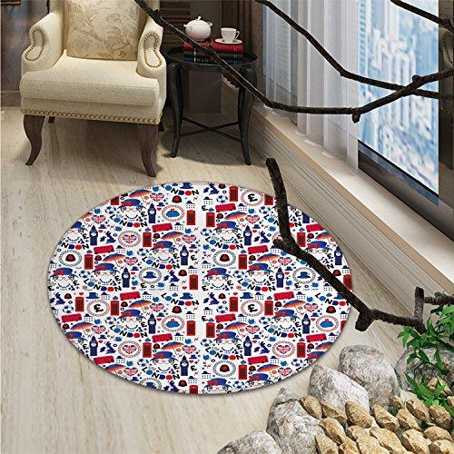 London Round Area Rug Carpet Pattern with London Symbols Queen Elizabeth Umbrella Tea Party Map Travel ThemeOriental Floor and Carpets Multicolor