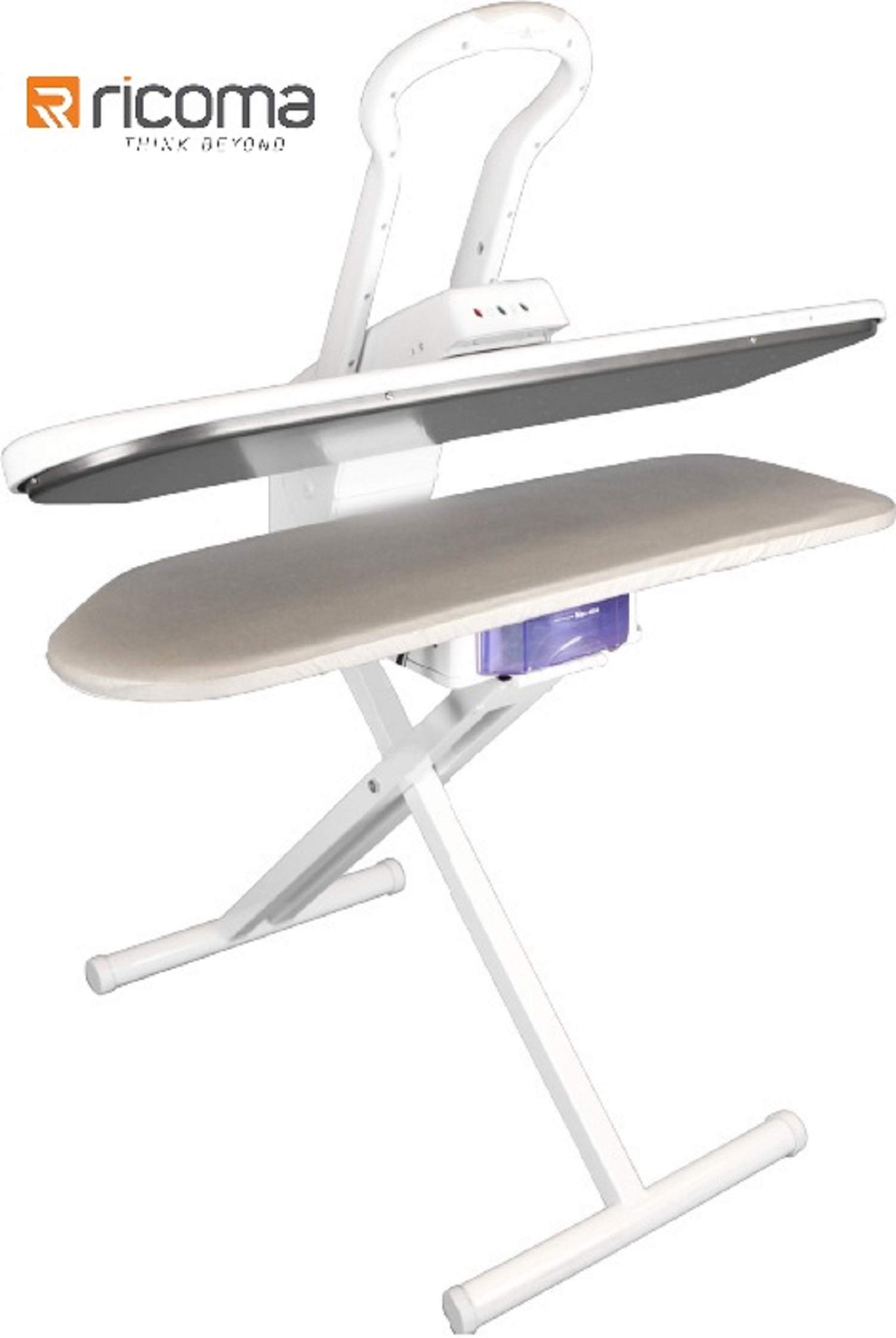 RiCOMA Ironing Steam Press 34x11 for Dry or Steam Iron Pressing, 1350 Watts, Includes 30'' Stand. Ultra XL Ironing Surface