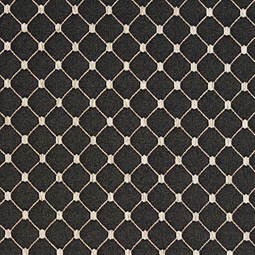 - Onyx Beige and Black Diamond Mesh Pattern Chenille Upholstery Fabric by the yard