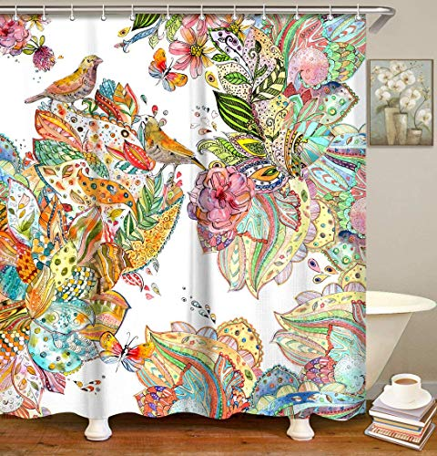 LIVILAN Colorful Floral Birds Shower Curtain Set with 12 Hooks Bath Curtain Home Decorations Fabric Machine Washable Privacy Curtain, 70.8 X 70.8 Inches
